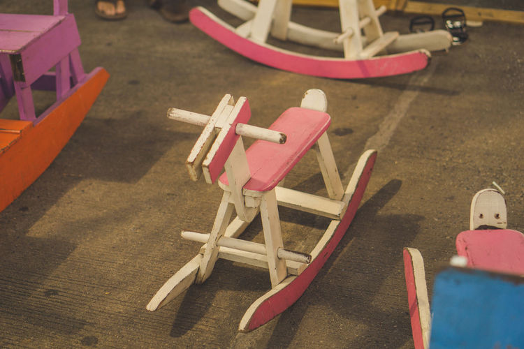 High angle view of toy on table in playground