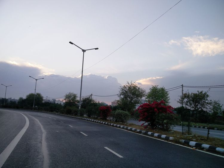 No Filter Beautiful Nature Beautiful Sky Morning Morning Sky Lovely Weather Sky Road Trees Sunrise - Dawn Empty Road Forked Lightning