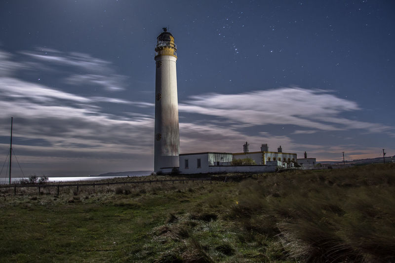 Barns Ness Lighthouse Lighthouse Architecture Astronomy Barnsness Barnsness Lightho Built Structure Cloud - Sky Dunbar Field Longexposure Low Angle View Moonlit Nature Night Nikond7200 Nikonphotography No People Pauldroberts Sky Stars