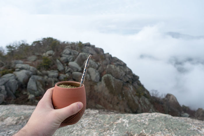 Mountain top Yerba Mate Beverage Caffeine Guayaki Hi Holding Out Drink Landscape Mountain Nature Tea Yerba Mate
