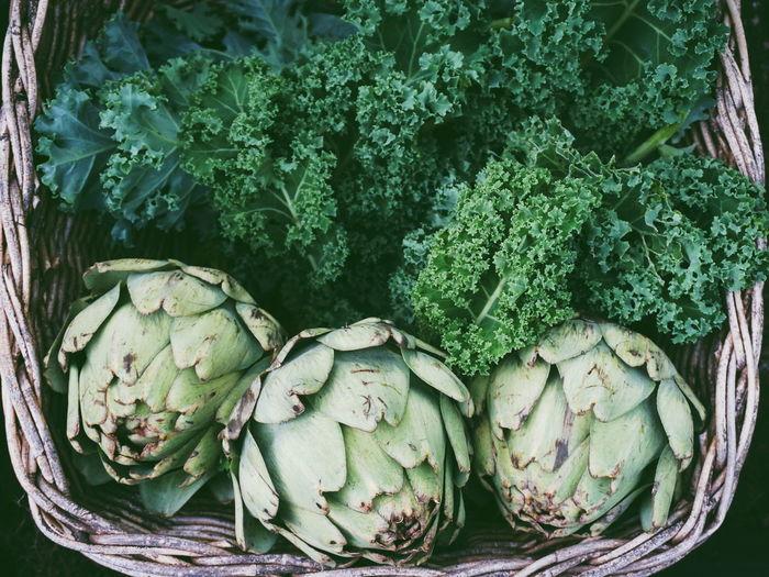 Directly above shot of vegetables in basket