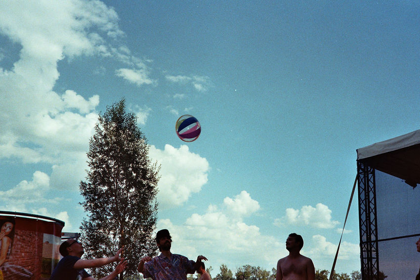 Analogue Photography Film Photography Sun Plants Hot Air Balloon Basketball - Sport Men Sport Togetherness Mid-air Playing Motion Fun Tree