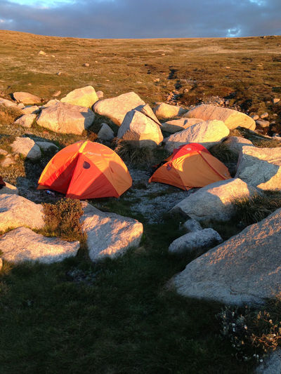 High angle view of tents amidst rocks on mount kosciuszko