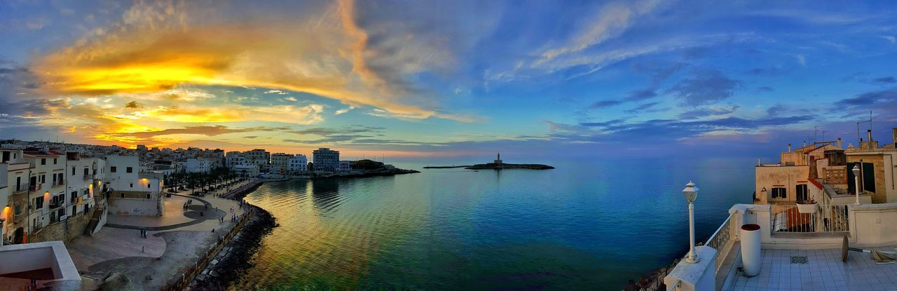 Vieste Puglia Water Architecture Built Structure Sea Building Exterior Panoramic Nautical Vessel Sky Transportation Scenics Beauty In Nature Tranquility Nature Tranquil Scene Cloud - Sky Outdoors Harbor No People Tourism Waterfront Sunset Tramonto Photography by Danieledonofrio
