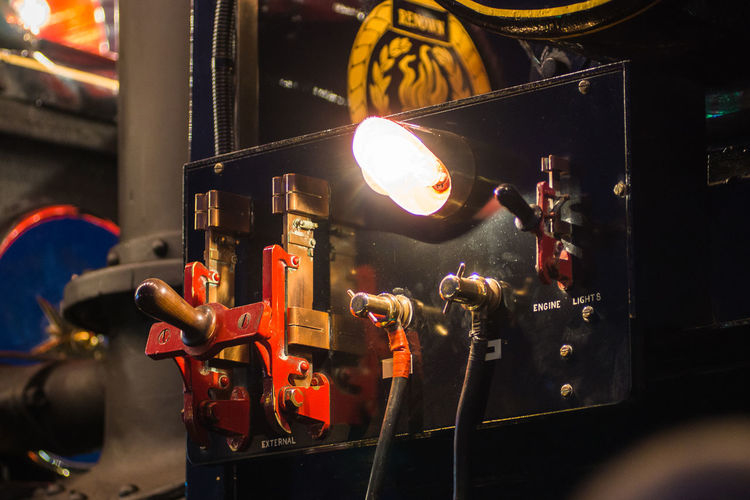 Close-up of illuminated machinery
