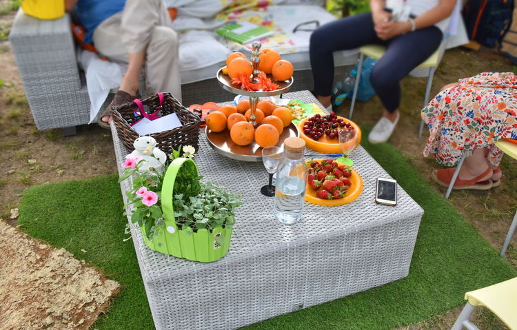 Backyard Cherries Basket Day Flowers Food Food And Drink Freshness Fruit Grass Group Of People Healthy Eating High Angle View Lifestyles Orange Outdoors People Real People Sitting Strawberies Table Wellbeing