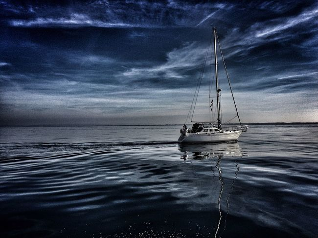 Sea Nautical Vessel Cloud - Sky Water Outdoors Sailboat Scenics Tranquil Scene Sailing Ship Voilier Mer Paysage Tranquility Tranquility Scene EyeEm Scenic Nobody Calm Water_collection Water Reflections Water Surface