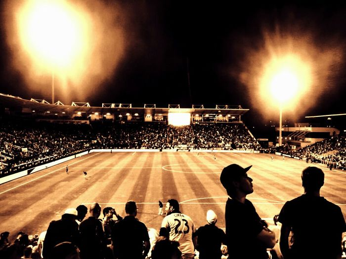 At the stadium...