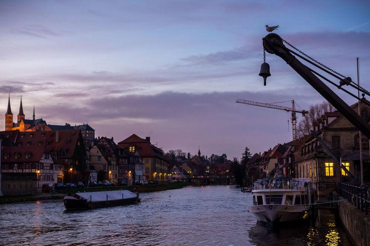 River Against Sky In Bamberg During Sunset
