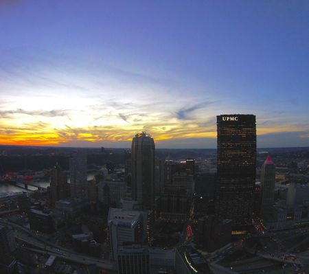 Beautiful sunset over Pittsburgh Pittsburgh Sunset Dronephotography Drone Shot Pittsburgh Pennsylvania Pittsburgh Skyline Pittsburghmostdope Dronepointofview Sunset First Eyeem Photo