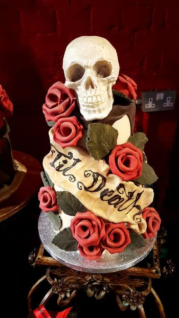 'Til Death' Skull Chocolate Cake Cake Cakes Chocolate Cakes Chocolate Choc Skull Skulls Roses Roses🌹 Red Roses🌹 Red Rose Skulls And Roses Choccywoccydoodah Choccy Woccy London Shop Travel Photography Red No People Sweet Food Indoors  Close-up Day