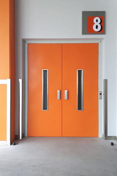 Architecture Building Built Structure Closed Day Door Eight Elevator No People Number Orange Orange Color Part Of Simplicity Symbol Vibrant Color