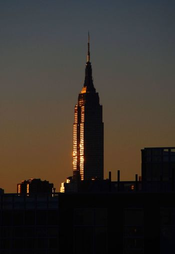 Manhattan Empire State Building Sunset Reflection