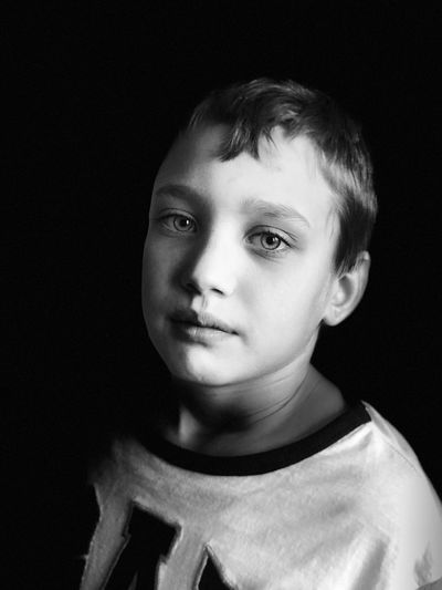 Childhood Child One Person Portrait Children Only Headshot Looking At Camera Boys Studio Shot Black Background Front View People One Boy Only Close-up
