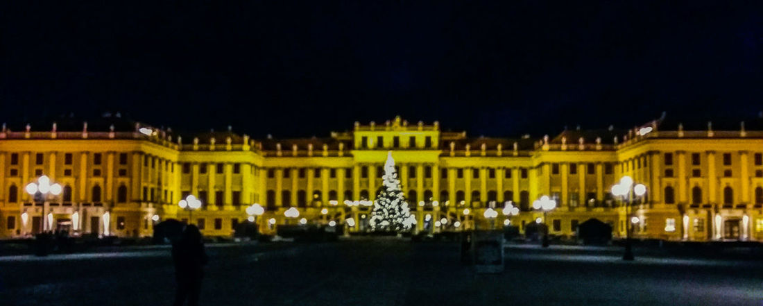 Architecture Travel Destinations Night Illuminated Travel Outdoors Cultures Sissi's Palace Schloß Schönbrunn Architecture Chrismastree