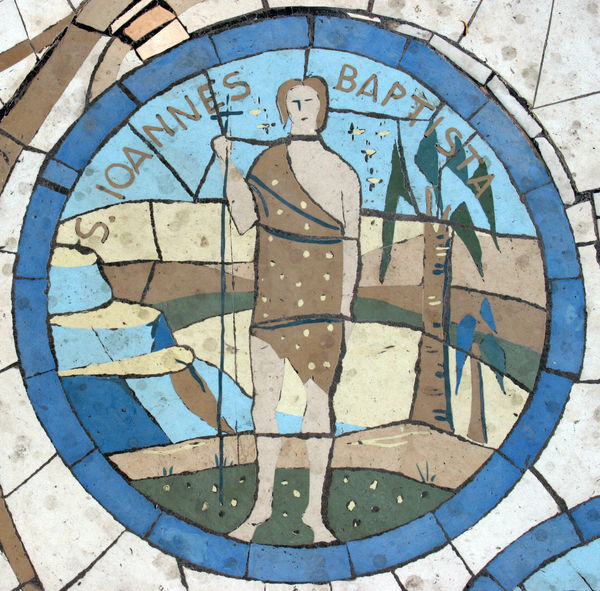 Saint John the Baptist, Mosaic in front of the church on the Mount of Beatitudes Beatitudes Belief Biblical  Christianity Church Galilee Historical Holy Israel Jesus John John The Baptist Middle East Mosaic Mount Religion Religious  Saint Sermon Shrine Spiritual Stone