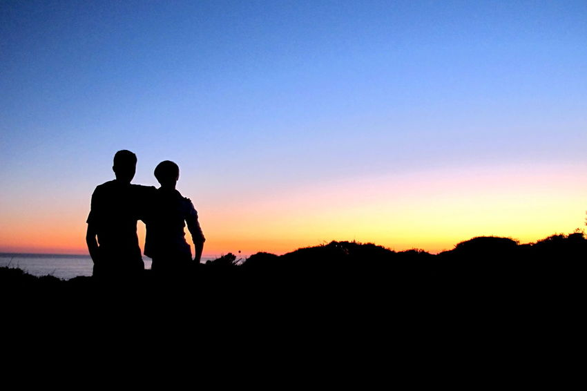 Being Together Colorful Discovering Places Evening Scene Evening Sky Friendship Horizon Over Land Landscape Non-urban Scene Shadowplay Silhouette Sillouette Sunset Time Together Tranquil Scene