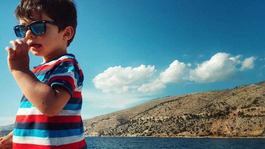 Portrait Of Child On Seashore