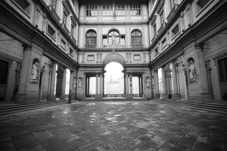Uffizi museum in Florence, Italy - black and white Uffizi Uffizi Museum Florence Florence Italy Uffizi Florence Florence Museum Firenze Italy City Cityscape Nobody Architecture Built Structure Building Exterior No People Landmarks Famous Place Travel Destinations Tuscany Ancient Building