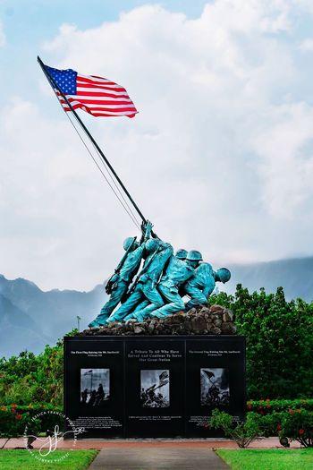 Patriotism Flag Statue Militarybase MarinecorpsbaseHawaii
