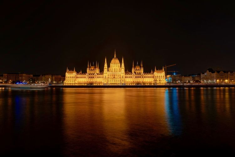 Illuminated hungarian parliament building water at night