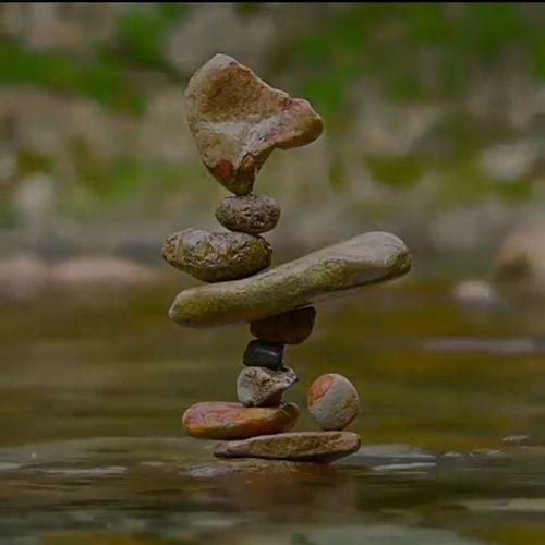 Rock Balance Waterfall Reflection Close-up