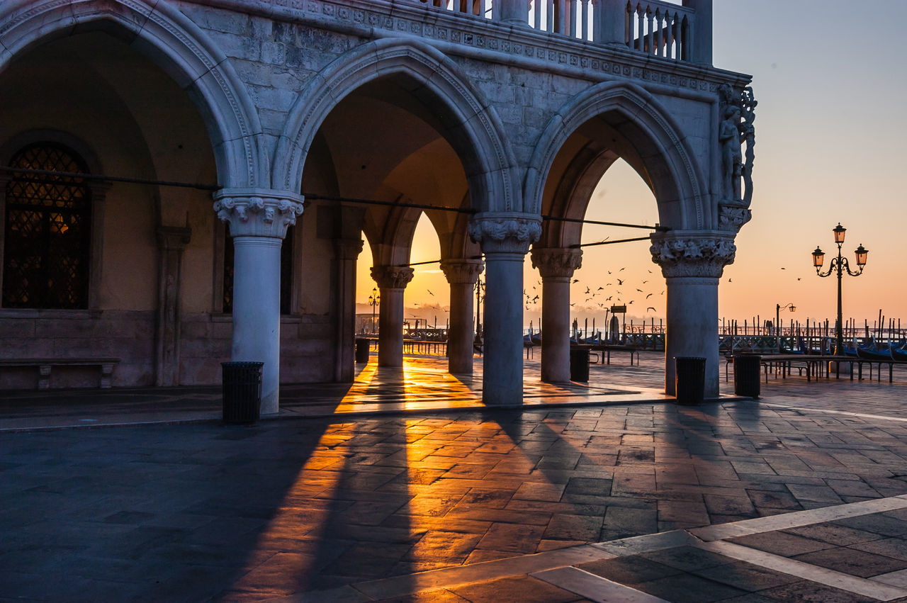 St mark square and doges palace during sunset