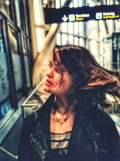 Tossing Hair Hair Hairstyle Teenager Girl City Beautiful Woman Beauty Women Beautiful People Young Women Females Headshot City Life Leather Jacket Thoughtful Pretty Head And Shoulders Attractive Beautiful Leather Pensive Caucasian