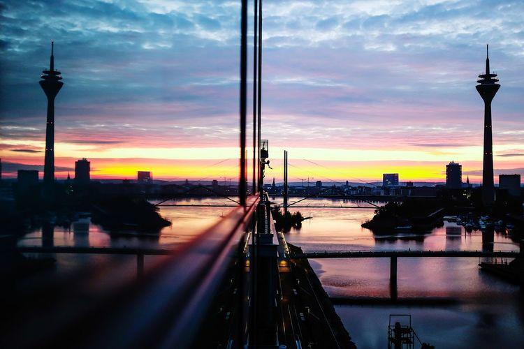 [Düsseldorf] Düsseldorf City Skyline Sunset Cloud - Sky Reflection Tower Travel Destinations Architecture Travel City Urban Skyline