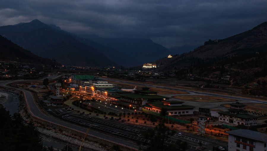 High angle view of illuminated paro city airport
