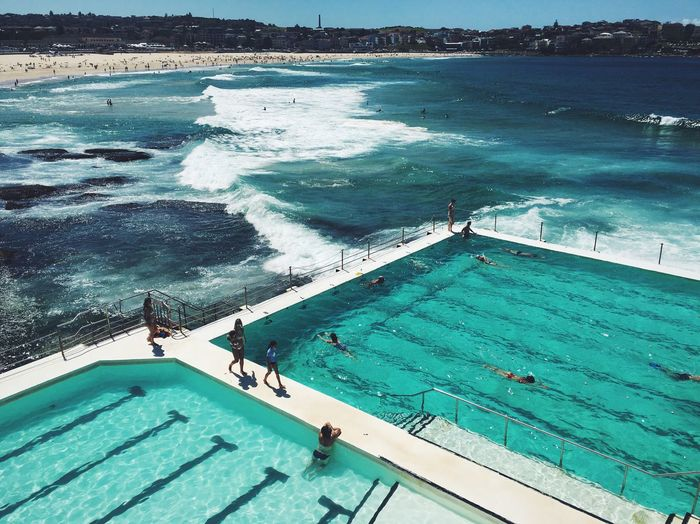 People In Infinity Pool At Bondi Beach