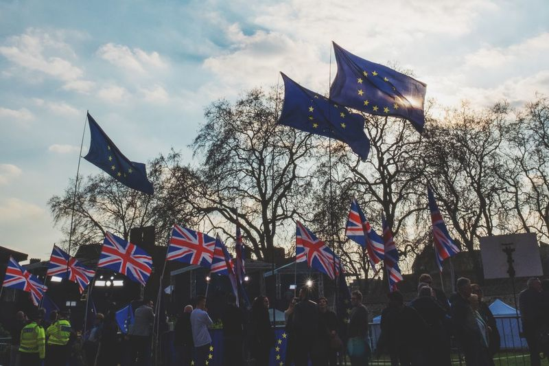 Anti Brexit Supporters outside Houses of Parliament Flag Sky Patriotism Low Angle View Cloud - Sky Nature Built Structure Pride Outdoors National Icon No People My Best Photo