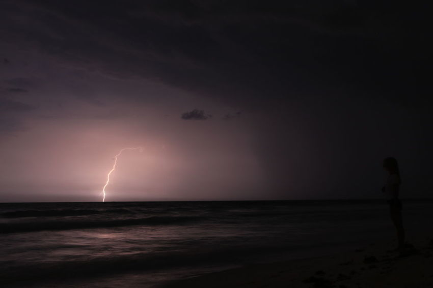 Philosophy Travel Beach Beauty In Nature Cloud - Sky Danger Forked Lightning Horizon Over Water Lightning Nature Night No People Ocean Outdoors Power In Nature Scenics Sea Sea And Sky Silhouette Sky Storm Storm Cloud Thunderstorm Travel Destinations Water
