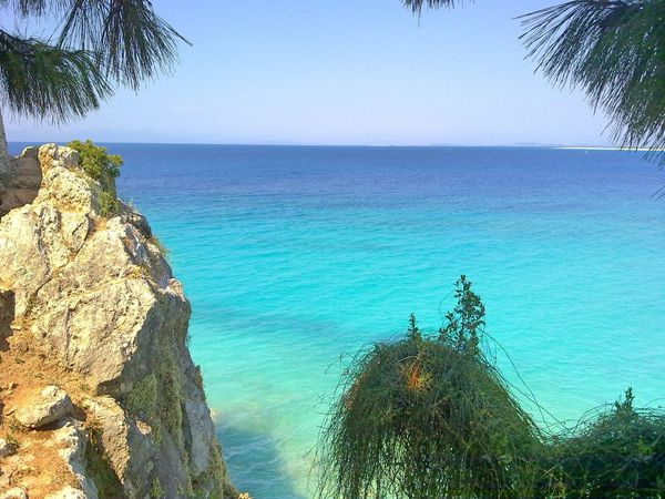 Lefkada, Greece, Crystal Waters Beauty In Nature Blue Coastline Horizon Over Water Lefkada Nature Rock - Object Rock Formation Sea Sunlight Tranquil Scene Tranquility Tree Vacations Water