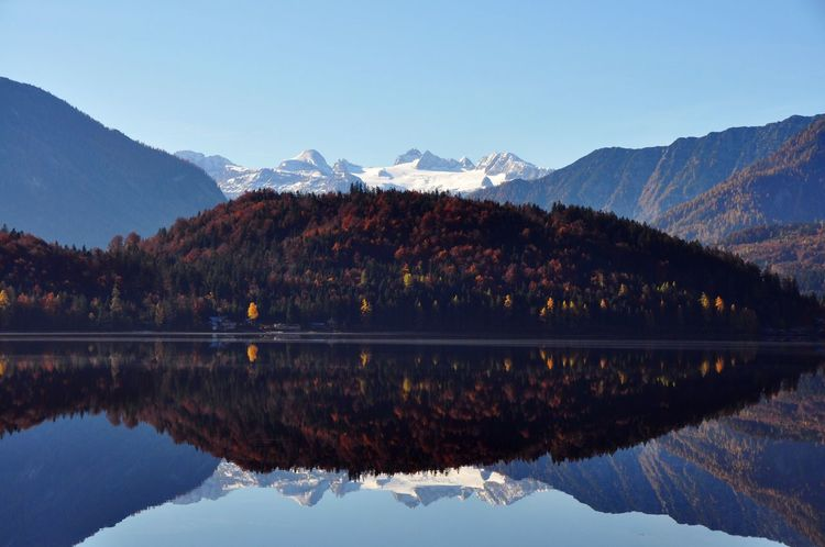Teflection Glacier Dachstein Salzkammergut Autumn Austria Mountain Reflection Mountain Range Lake Beauty In Nature Water Scenics Nature Snow Tranquil Scene Waterfront Tranquility Snowcapped Mountain Outdoors Landscape Symmetry Sky Day No People