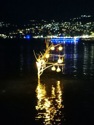Night Reflection Illuminated Outdoors Lake Water No People Nautical Vessel Sky Nature Astrology Sign