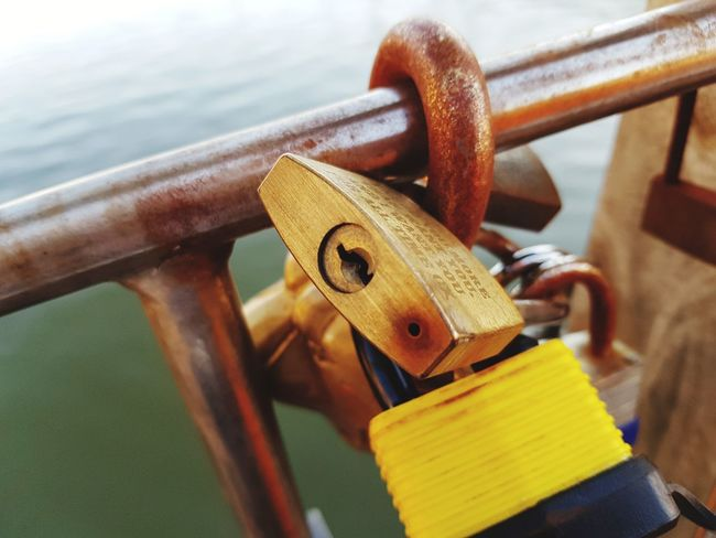 EyeEm Selects Water Nautical Vessel Lock Padlock Rusty Hanging Metal Railing Safety Protection
