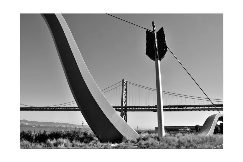 Cupid's Span 3 San Francisco CA🇺🇸 Rincon Park The Embarcadero Cupid's Span 60 Ft. Outdoor Sculpture 2002 Bnw_from_beneath Bnw_friday_eyeemchallenge Drawn Bow & Arrow Partial Bow & Piece Of An Arrow Love's Weapon Of Choice Implanted In The Ground Waterfront♥ Bay Bridge Tower & Span Monochrome_Photography Monochrome Black & White Black & White Photography Black And White Black And White Collection  Sculptors: Oldenburg & Bruggen San Francisco Bay Home Port Of Eros Public Art