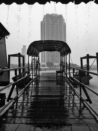 Raining day by The river Pier Architecture Built Structure Building Exterior Water City Nature Sky Transportation