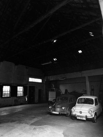 Car Built Structure Parking Lot Stationary Vintage Cars Blackandwhite