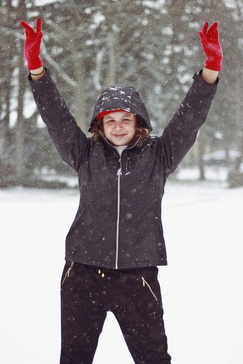 Winter , 2019 Winter Snow Cold Temperature Child Warm Clothing Human Arm Childhood Clothing Arms Raised One Person Front View Hat Girls Limb Nature Standing Three Quarter Length Portrait Innocence Snowing Human Limb Outdoors Toronto Canada Happiness