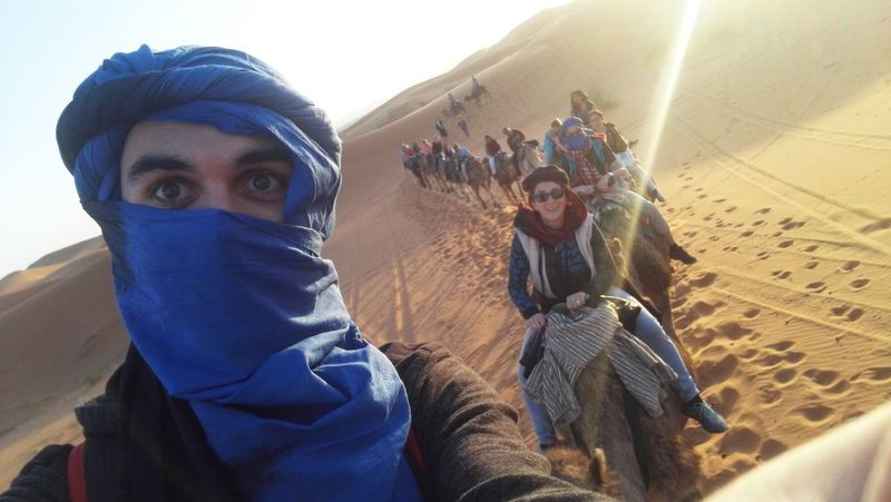 Hijab Selfıe Camel Desert Mumandson Sunset Adventure Outdoors Togetherness Looking At Camera Adults Only Happiness Desertlife Merzouga Marrocco