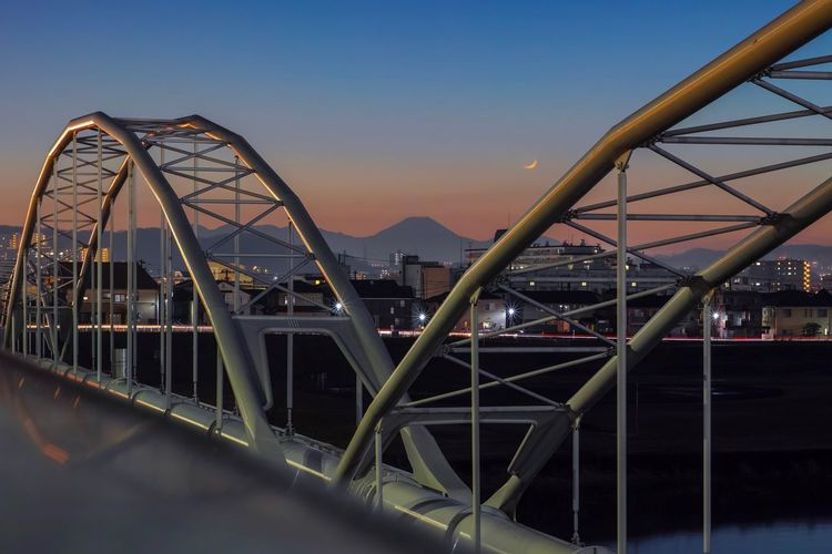 Mt.Fuji Crescent Moon Moon Mauntain Sunset_collection Sunset Silhouettes Skyporn Sky_collection Evening Sky Landscape_Collection Landscape_photography Taking Photos EyeEm Best Shots EyeEm Gallery From My Point Of View The Week on EyeEm Architecture Built Structure Sky Bridge Bridge - Man Made Structure Connection Transportation City Sunset Building Exterior Cityscape