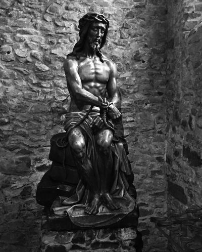 Statue of Jesus in the bond in Basilica of the Holy bold. Statue Human Representation Sculpture Male Likeness Art And Craft No People Built Structure Day Architecture Outdoors Blackandwhite Black & White Metal - Material Religion Church Belgium Christ Jesus