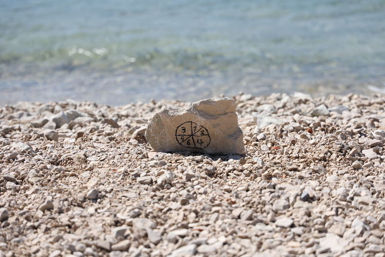 Surface level of text on sand at beach