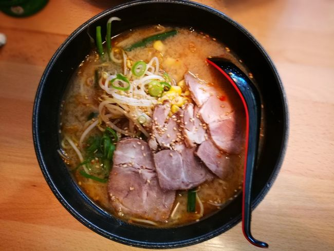 Ramen for lunch Soup Bowl Ramen Noodles Indoors  Food And Drink Table Food Noodle Soup Meat Japanese Food Healthy Eating Ready-to-eat No People Freshness Charming Soup Bowl Chopsticks Close-up Sensory Perception