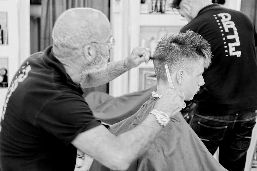 Barber shop Barbershop Hair Hairstyle Haircut Italy Telling Stories Differently Up Close Street Photography Guy Working Handsome Hands At Work Men Style Styling Hairdresser Hair Style Experience Generations Young