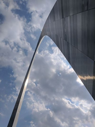 Gatewayarch Sky Day Low Angle View Outdoors No People Cloud - Sky Architecture Modern St Louis Arch St Louis Bridge - Man Made Structure Built Structure Connection