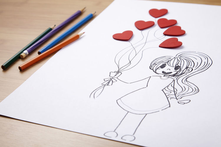 Sketch Of Female Holding Red Heart Shape Balloons On White Paper