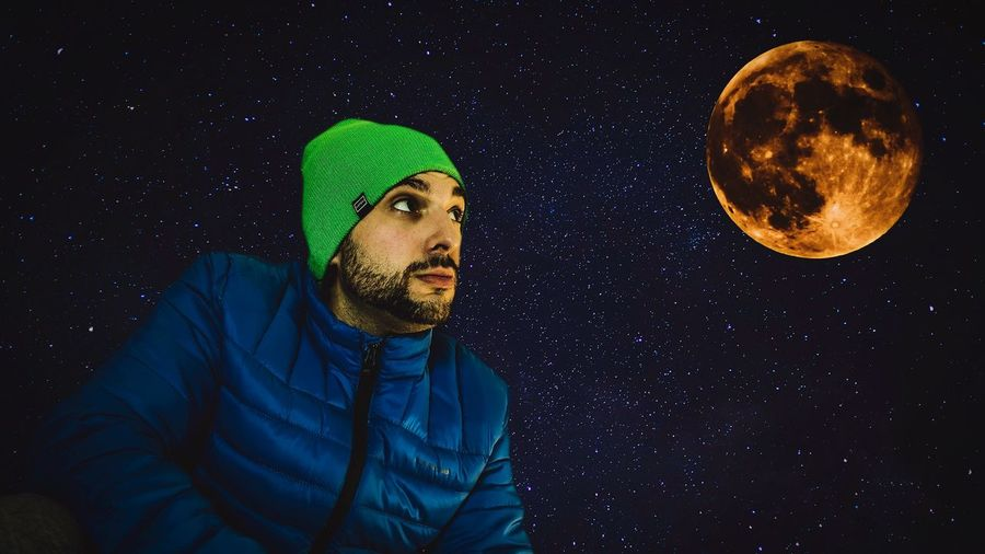 Super moon stars!!! TheNorthFace Lightroom Photoshop Edit Photography Night Star - Space Moon Astronomy Space One Person Winter Sky Galaxy Men Beard Constellation Nature